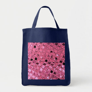 Shiny Metallic Pink Diamond Reusable Navy Blue Tote Bag