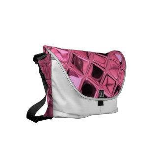 Shiny Metallic Pink Diamond Small Messenger Bag