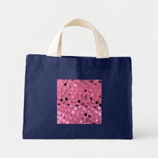Shiny Metallic Pink Diamond Small Navy Blue Tote Bag