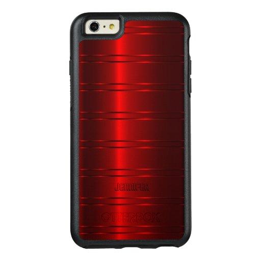 Shiny Metallic Red Stripes OtterBox iPhone 6/6s Plus Case : Zazzle