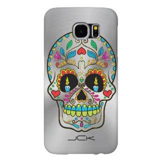Shiny Metallic Silver-Gray & Colorful Sugar Skull Samsung Galaxy S6 Case