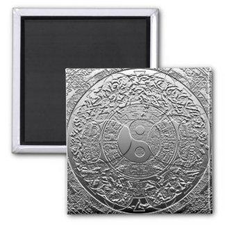 Shiny Metallic Steel Metal Look Yin Yang 2 Inch Square Magnet