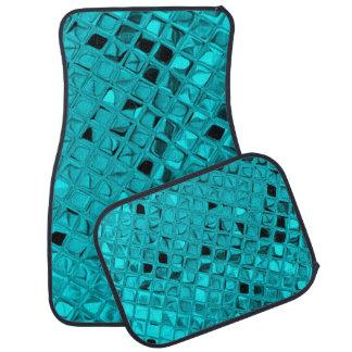 Shiny Metallic Teal Diamond Faux Serpentine Car Mat