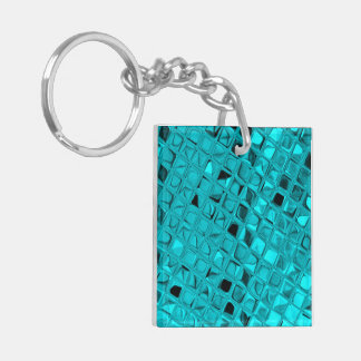 Shiny Metallic Teal Diamond Faux Serpentine Double-Sided Square Acrylic Keychain