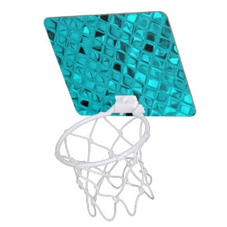 Shiny Metallic Teal Diamond Faux Serpentine Mini Basketball Backboard