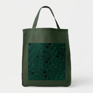 Shiny Metallic Teal Diamond Reusable Hunter Green Tote Bags