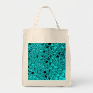 Shiny Metallic Teal Diamond Sassy Reusable Canvas Bag