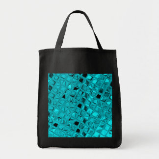Shiny Metallic Teal Diamond Sassy Reusable Black Tote Bag