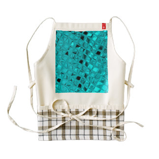 Shiny Metallic Teal Diamond Zazzle HEART Apron