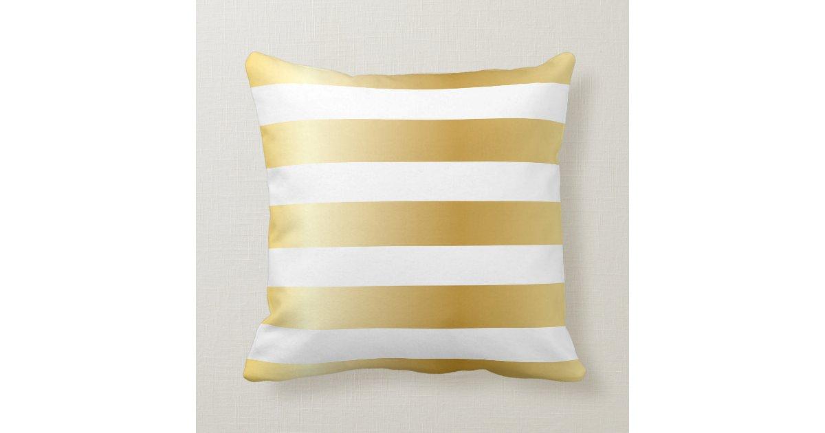 Shiny Metallic Wide Gold Stripe Pattern Throw Pillow Zazzle