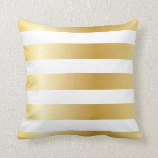 Shiny Metallic Wide Gold Stripe Pattern Throw Pillows