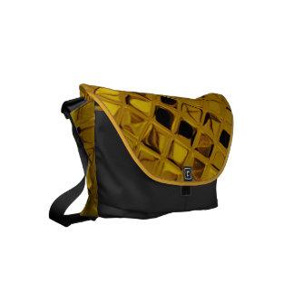 Shiny Metallic Yellow Diamond Small Messenger Bag