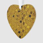Shiny Metallic Yellow Gold Diamond Faux Serpentine