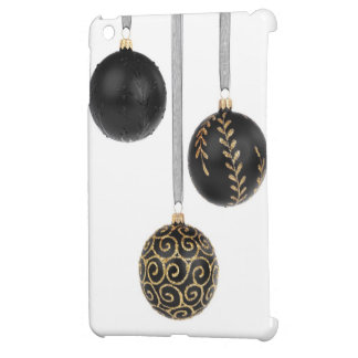 Shiny Modern Black Gold Glitter Christmas Balls iPad Mini Cases