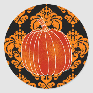 Shiny Orange Autumn Pumpkin Orange Black Damask Classic Round Sticker