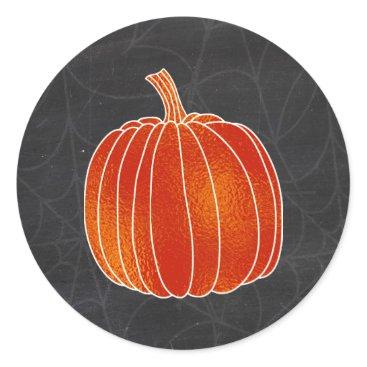 Halloween Themed Shiny Orange Autumn Pumpkin Spiderweb Chalk Classic Round Sticker