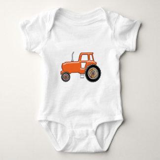 Shiny Orange Tractor Baby Bodysuit