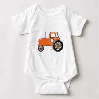 Shiny Orange Tractor Baby Bodysuit