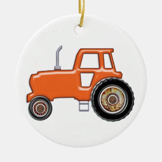 Shiny Orange Tractor Ceramic Ornament