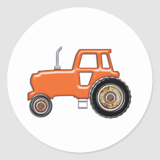 Shiny Orange Tractor Classic Round Sticker
