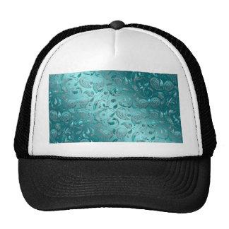 Shiny Paisley Turquoise Mesh Hats