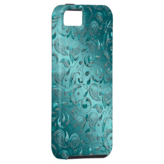Shiny Paisley Turquoise iPhone SE/5/5s Case