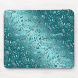 Shiny Paisley Turquoise Mouse Pads