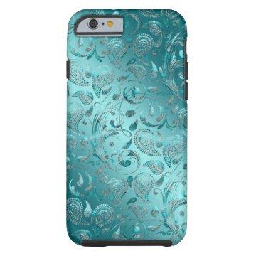 Shiny Paisley Turquoise Tough iPhone 6 Case at Zazzle