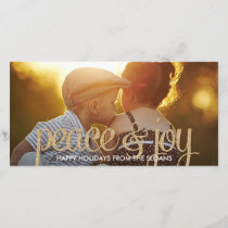 Shiny Peace & Joy Holiday Photo Card