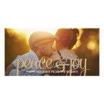 Shiny Peace & Joy Holiday Photo Card Photo Cards
