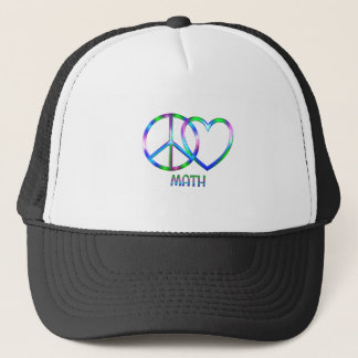 Shiny Peace Love Math Trucker Hat