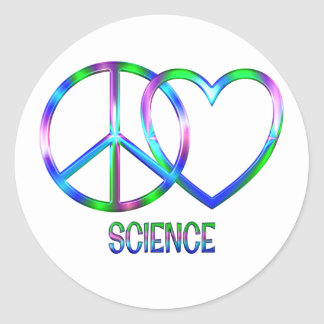 Shiny Peace Love Science Classic Round Sticker