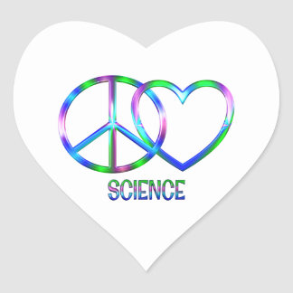 Shiny Peace Love Science Heart Sticker
