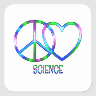 Shiny Peace Love Science Square Sticker
