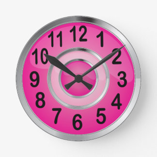 Shiny Pink and Silver Metal Round Clock