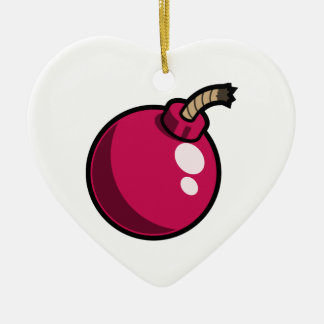 Shiny Pink Cartoon Bomb. Makes a great gift! Double-Sided Heart Ceramic Christmas Ornament