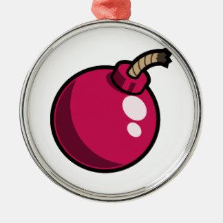 Shiny Pink Cartoon Bomb. Makes a great gift! Metal Ornament