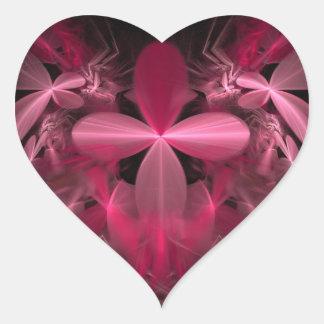 Shiny Pink Flower Petals Heart Sticker