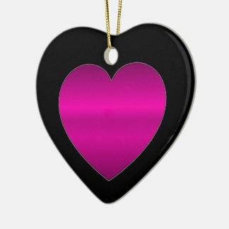 Shiny Pink Heart Ceramic Ornament
