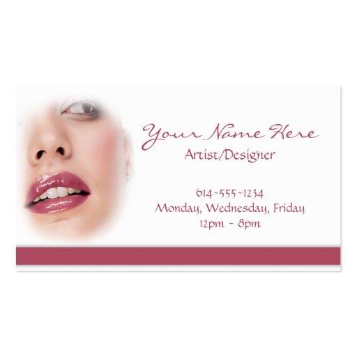 Shiny Pink Lipstick Woman Business Cards : Zazzle