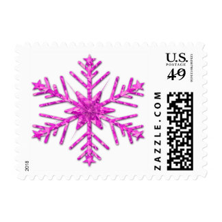 Shiny Pink Sparkly Winter Snowflake Postage