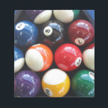 "Shiny Pool balls close up Notepad<br><div class=""desc"">More than just an 8 ball - these shiny pool balls are the perfect gift for any pool / billiard player</div>"