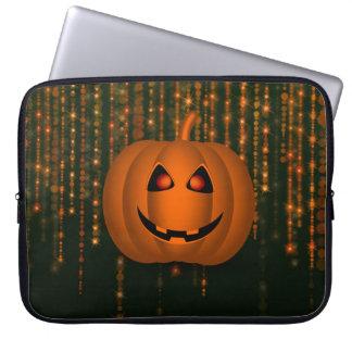 Shiny Pumpkin Bokeh String Lights Laptop Sleeve