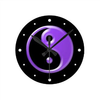 Shiny Purple Yin Yang Wall Clocks