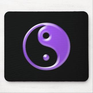 Shiny Purple Yin Yang Symbol Mouse Pads