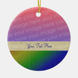 Shiny Rainbow Stripes Your Photo Ornament