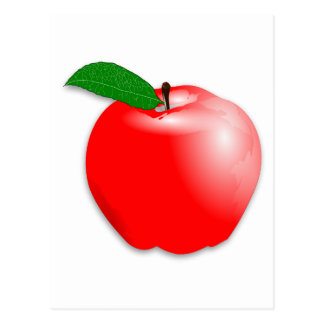 Shiny Realistic Red Apple Fruit Postcard