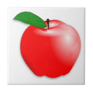 Shiny Realistic Red Apple Fruit Tile
