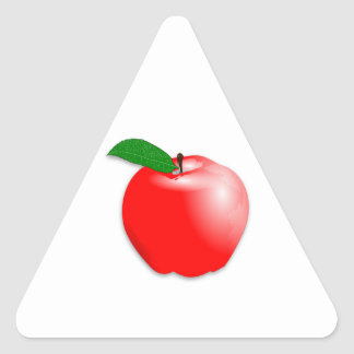 Shiny Realistic Red Apple Fruit Triangle Sticker