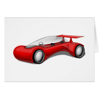 Shiny Red Aerodynamic Futuristic Car with Spoiler Greeting Card
